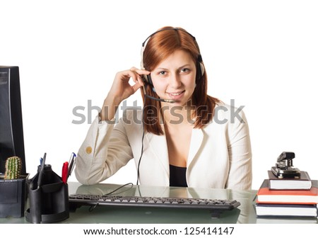 call center operator girl at office on a white background isolated