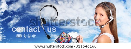 call center operator global international contact concept - stock photo