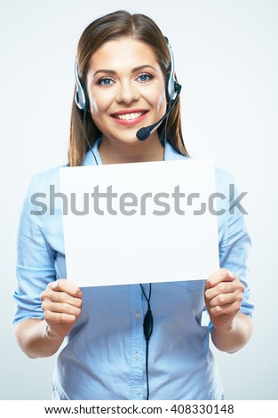 Call center operator hold blank sign board. White background isolated. Young business woman. - stock photo