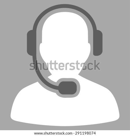 Call Center Operator icon from Commerce Set. Glyph style: bicolor flat symbol, dark gray and white colors, rounded angles, silver background.
