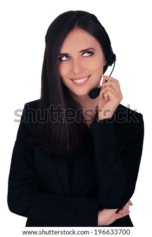 Call Center Operator in Black Blazer - Beautiful young woman call center operator with headset and black blazer smiling   - stock photo