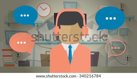 Call center operator in the office. Illustration in flat style. Communication concept. Man with headset. Communication bubble around operator - stock photo