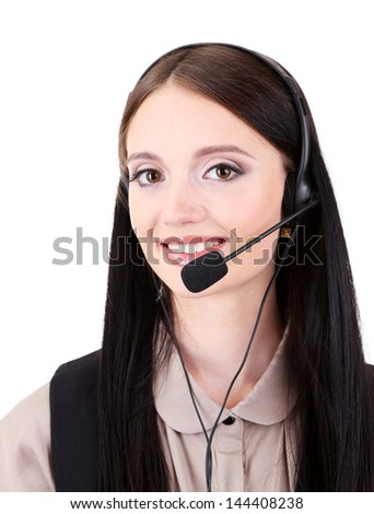 Call center operator, isolated on white - stock photo