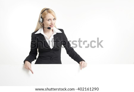 Call center operator with billboard  - stock photo