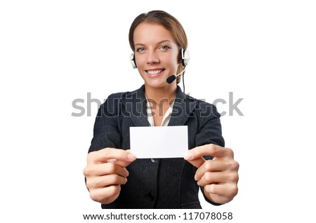 Call center operator with blank message - stock photo