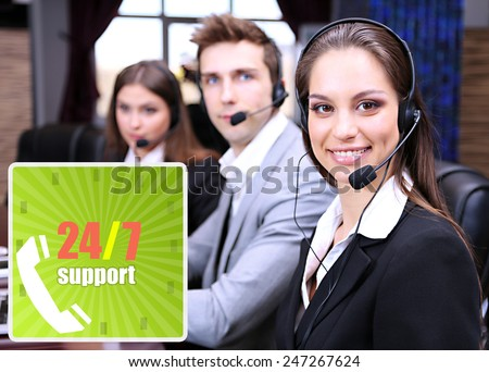 Call center operators at office, Round-the-clock support concept - stock photo