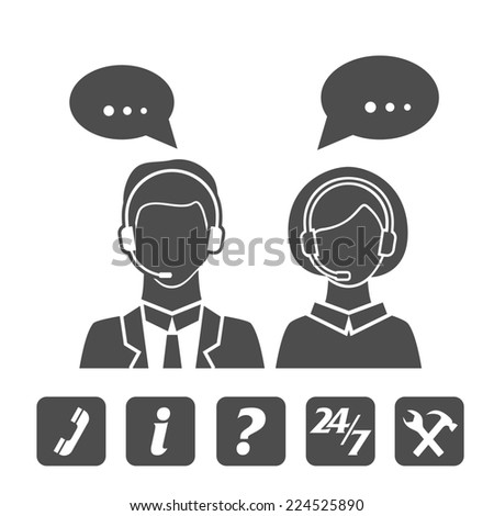 Call center or technical support icons collection - stock photo