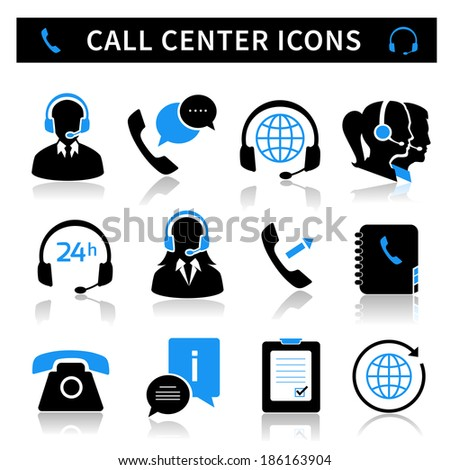 Call center service icons set of contacts mobile phone and communication isolated  illustration - stock photo