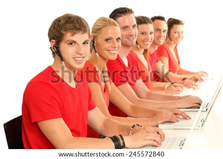 Call center staff - stock photo