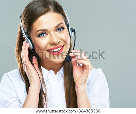 Call center support operator.Close up portrait of woman customer service. Isolated studio. - stock photo