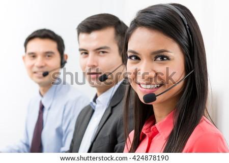 Call center (telemarketing or customer service) team - stock photo