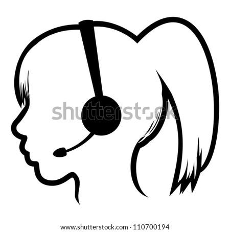 call center woman icon - stock photo