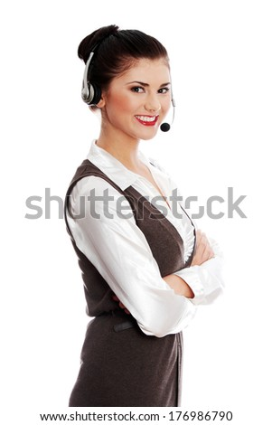 Call center woman with headset. Isolated on white - stock photo