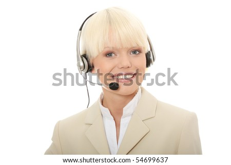 Call center woman with headset. Isolated on white background.