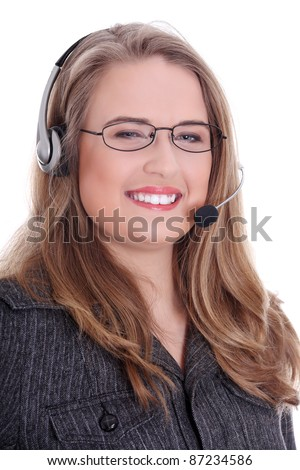 Call center woman with headset. Over white background - stock photo