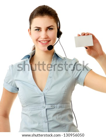 Call center woman with headset showing business card. - stock photo