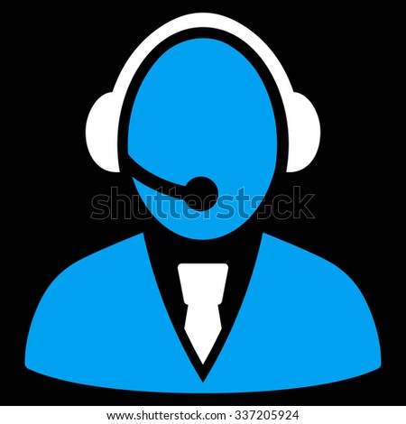 Call Center Worker illustration icon. Style is bicolor flat symbol, blue and white colors, rounded angles, black background.