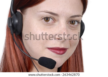 Call center, young woman, telephone headset - stock photo