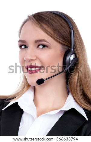 Call Centre Support phone operator in headset, isolated - Stock Image