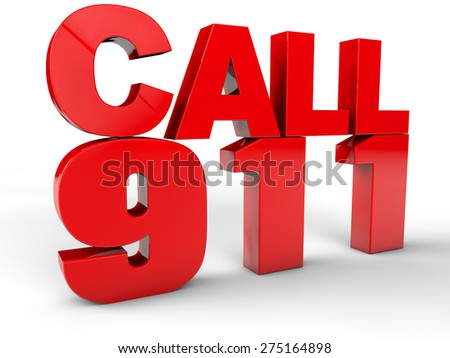Call 911 911 emergency call 3d text over white Background - stock photo
