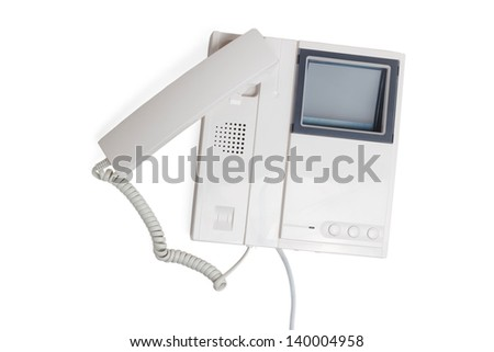 call intercom communication button speaker electronic cable device isolated - stock photo