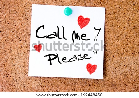 Call me Please, written on an white sticky note pinned on a cork bulletin board. - stock photo