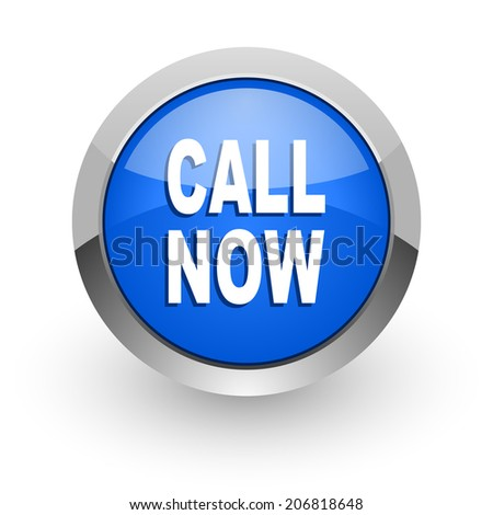 call now blue glossy web icon - stock photo