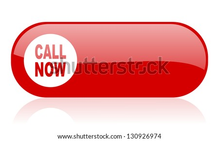 call now red web glossy icon - stock photo