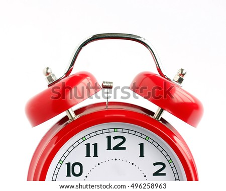 Call Red retro alarm clock on a white background (not isolate).