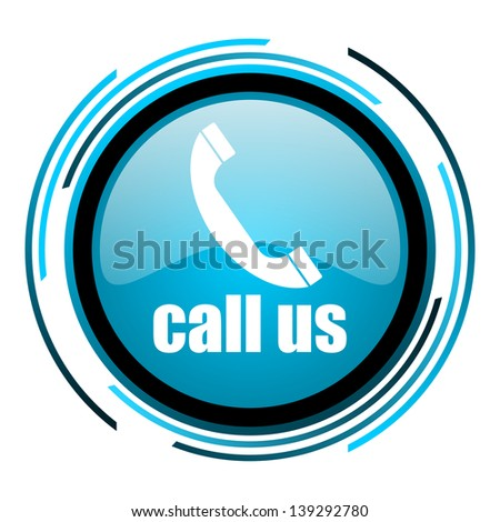 call us blue circle glossy icon  - stock photo