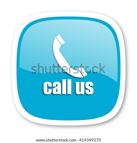 call us blue glossy icon - stock photo