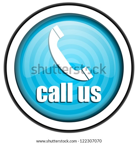 call us blue glossy icon isolated on white background - stock photo