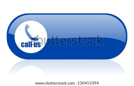 call us blue web glossy icon - stock photo