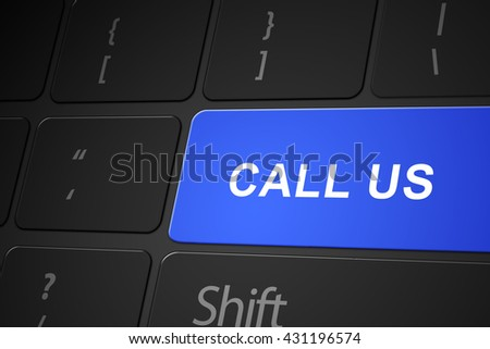Call us button on keyboard, 3d render - stock photo