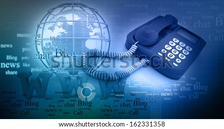 call us, contact centre. Global connection  - stock photo