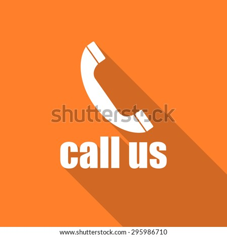 call us flat design modern icon with long shadow for web and mobile app  - stock photo