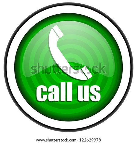 call us green glossy icon isolated on white background - stock photo