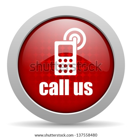 call us red circle web glossy icon  - stock photo