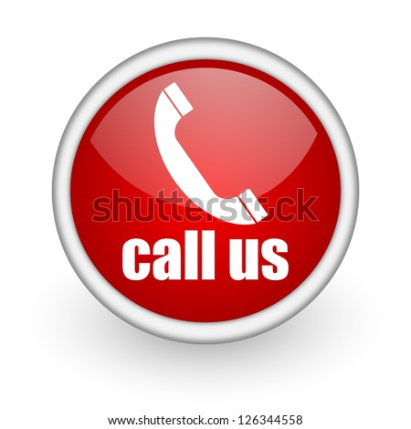 call us red circle web icon on white background - stock photo
