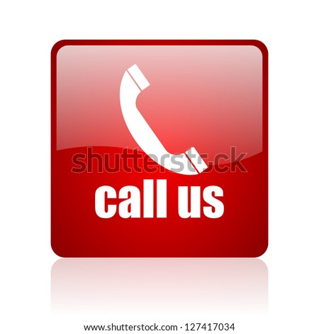 call us red square glossy web icon on white background - stock photo