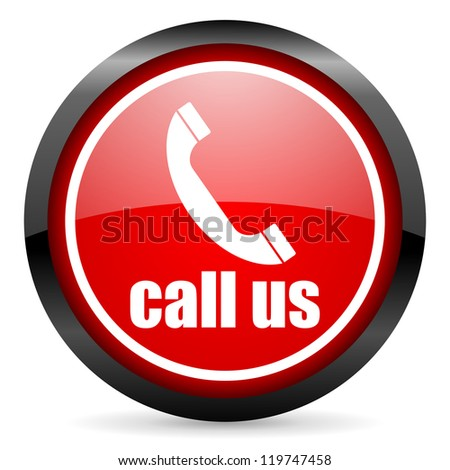 call us round red glossy icon on white background - stock photo