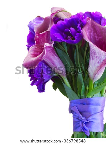 Calla lilly and eustoma fresh flowers bouquet close up isolated on white background - stock photo