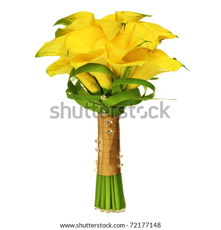 Calla Lilly Wedding Bouquet isolated on white - stock photo
