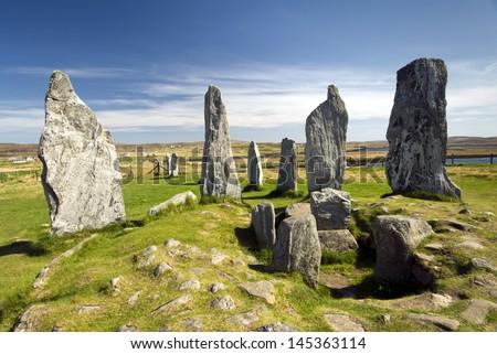 Callanish standing stone circle, Callanish, Isle of Lewis, Scotland, UK. - stock photo