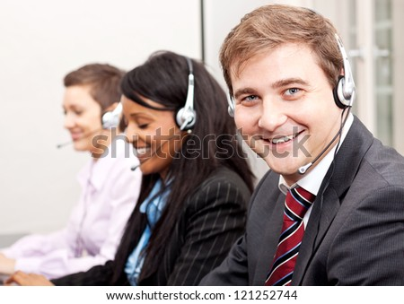 callcenter service communication in office operator - stock photo