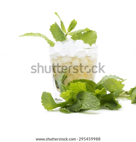 called a mint julep cocktail, made with bourbon and mint - stock photo
