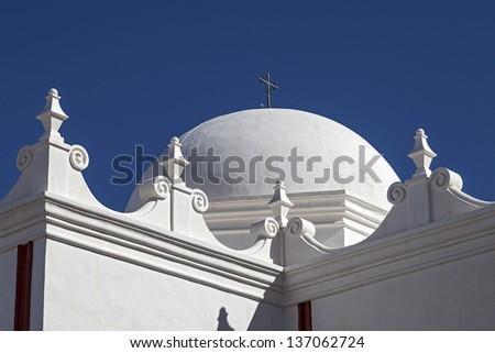 Called the White Dove of the Desert, Mission San Xavier del Bac near Tucson, Arizona - stock photo