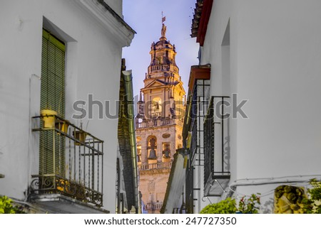 Calleja de las Flores, one of the most popular and tourist streets of Cordoba city near the Great Mosque in Andalusia, Spain. - stock photo