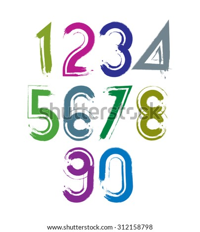 Calligraphic brush numbers with white outline, hand-painted bright numeration. - stock photo
