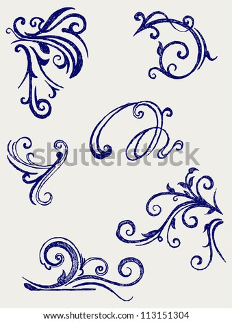 Calligraphic design element and page decoration. Raster version
